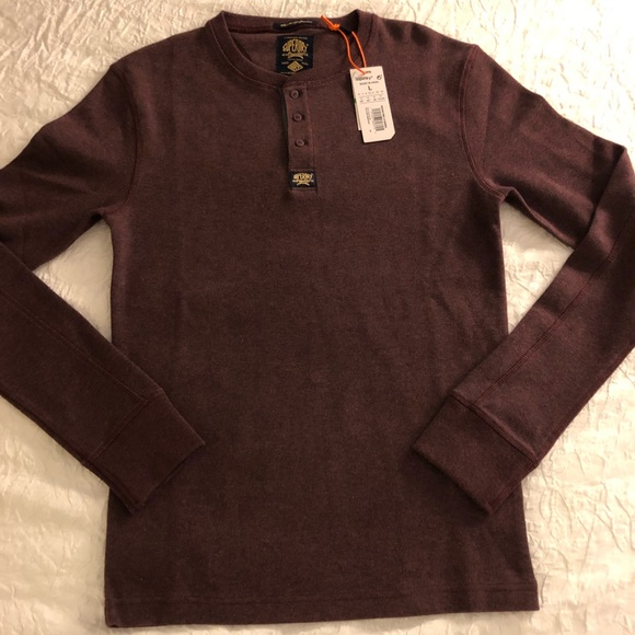 33f81929301 Superdry Shirts | Long Sleeve Henley Maroon Large Shirt | Poshmark